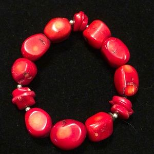 Barse Sterling Silver and Deep Red Coral Bracelet